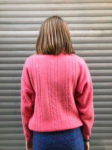 Pull Coupe Polo Rose Laine et Angora