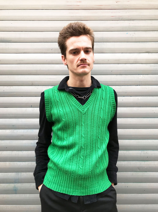 Pull Sans Manches Vert Maille Torsadee