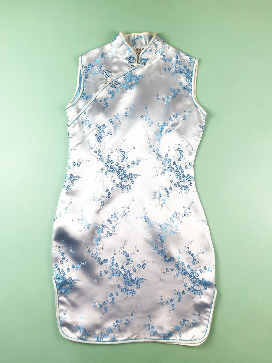 Robe Chinoise Satin Turquoise Friperie En Ligne Blow Up Vintage