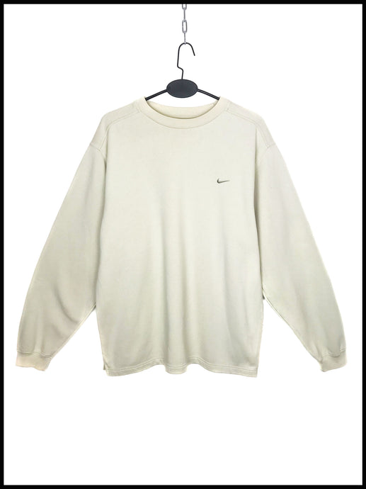 Sweat Vintage Nike Beige Manches Longues