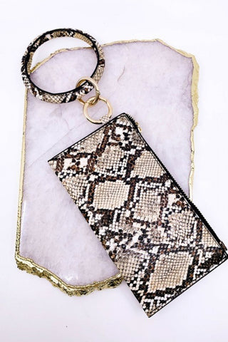 "Lively ""Leather"" Keychain & Clutch -Snakeskin"