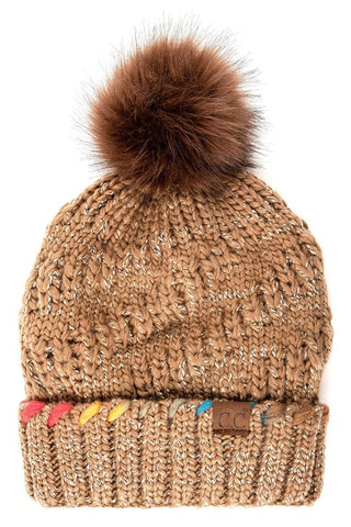 Ombre Accent Beanie-Taupe