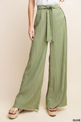 Olive Front-Tie Pant