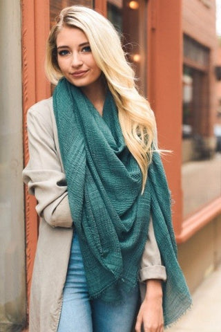 Shredded Open Weave Blanket Scarf