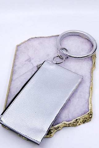 "Lively ""Leather"" Keychain & Clutch - Silver"
