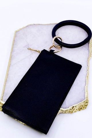 "Lively ""Leather"" Keychain & Clutch - Black"