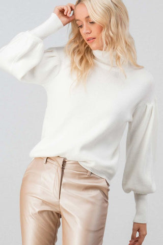 Pretty in Puff Sleeves Sweater - Ivory