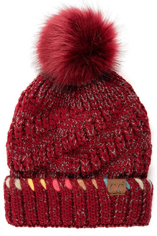 Ombre Accent Beanie-Burgundy