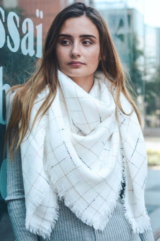 Oversized Check Scarf-Ivory