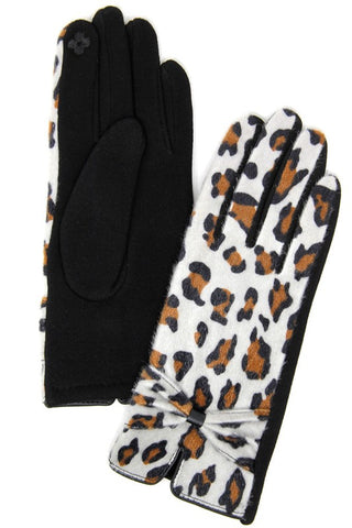 Leopard Tech Tip Gloves- Ivory