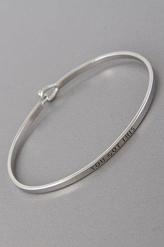 Wear Your Words On Your Sleeve Bracelet- You Got This in Silver