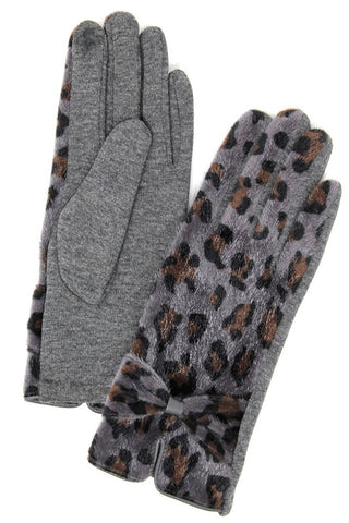 Leopard Tech Tip Gloves- Grey