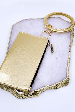 "Lively ""Leather"" Keychain & Clutch - Gold"