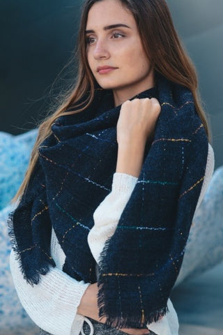 Oversized Check Scarf-Navy