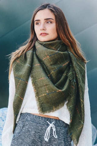 Oversized Check Scarf-Olive
