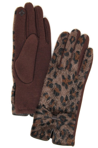 Leopard Tech Tip Gloves- Dark Brown