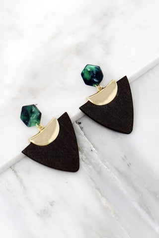 Geo Arrow Earrings - Black