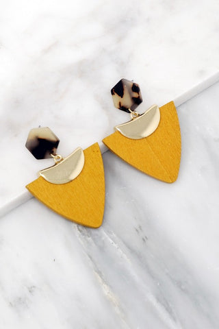 Geo Arrow Earrings - Mustard