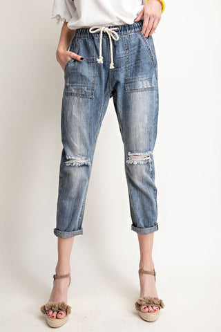 Washed Boyfriend Drawstring Denim