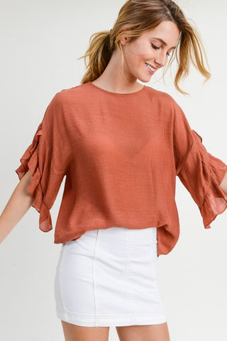 Terra Cotta Ruffles Top