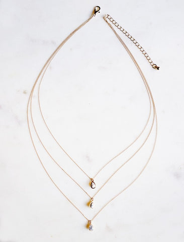 Dainty Tear Drop Necklace-Gold