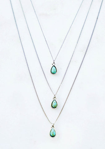 Dainty Tear Drop Necklace-Silver