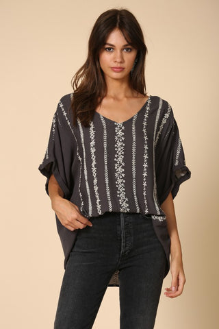 Very Vertical Embroidered Top
