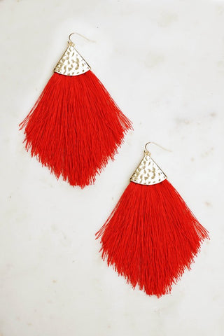 Riveting Red Tassel Earrings