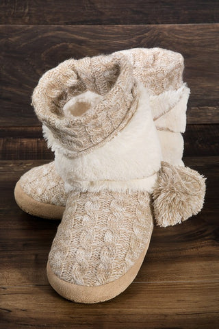 Playful Pom Knitted Slippers - Beige