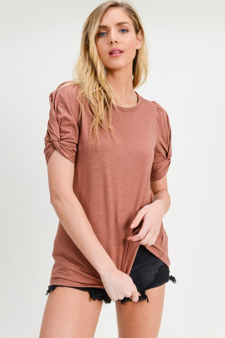 Twisted Sleeve Tee - Terra Cotta