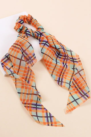 Plaid Scrunchie - Orange