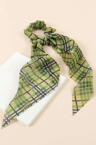 Plaid Scrunchie - Olive