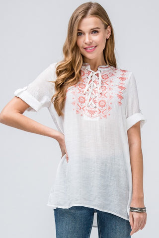 Pleasantly Embroidered Top