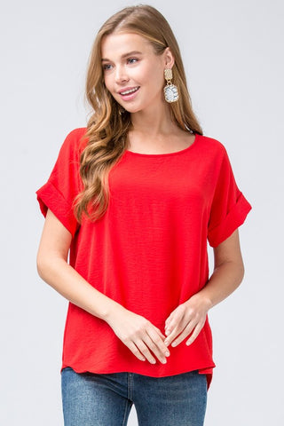 Bright & Bold Roll Sleeve Top