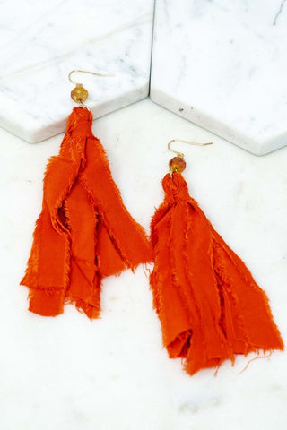 Fabulous Fabric Earrings - Orange