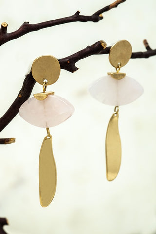Novel Natural Stone Earrings - Rose Quartz
