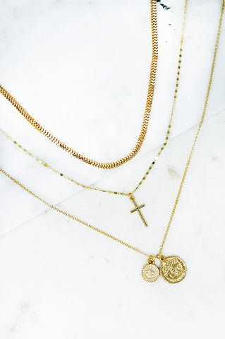 Golden Cross Layered Necklace