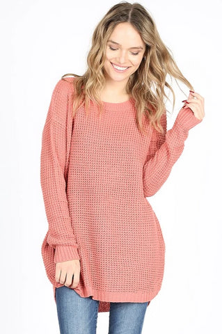 Waffle Knit Top - Ash Rose