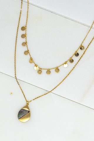 Teardrop Shell Layered Necklace