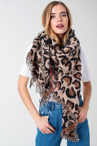 Hidden Sequins Leopard Scarf