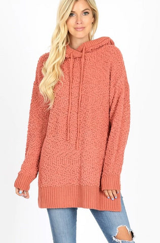 Popcorn Hooded Sweater-Ash Rose