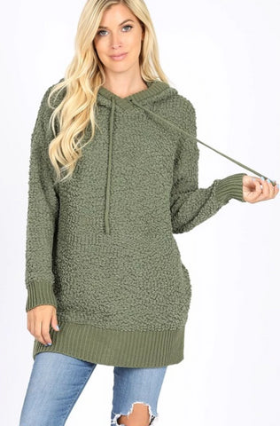 Popcorn Hooded Sweater-Light Olive