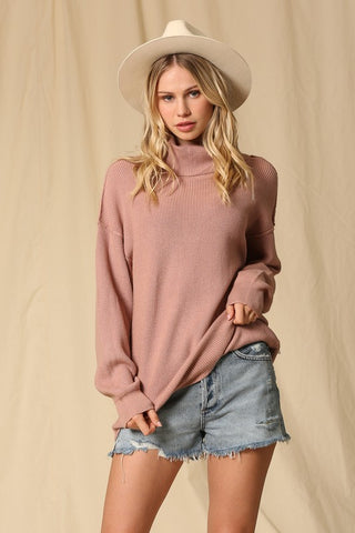Turtle Neck Tunic Sweater - Mauve