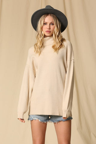 Turtle Neck Tunic Sweater - Ivory