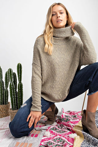 Olive Cowl-Neck Knitted Sweater