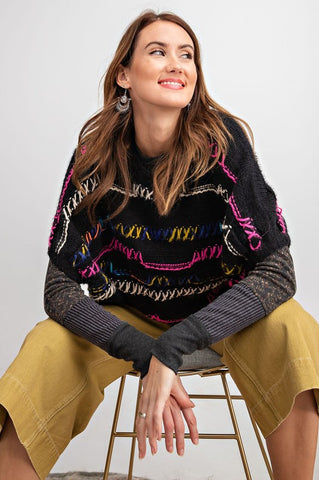 Delightful Doodles Sweater - Black