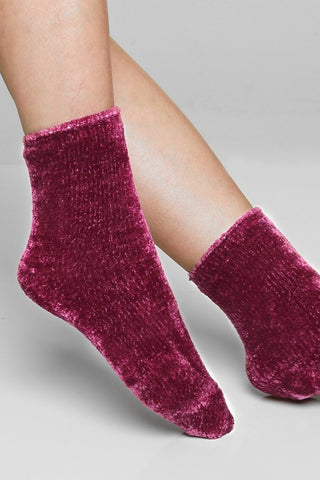 Softest Chenille Socks - Wine