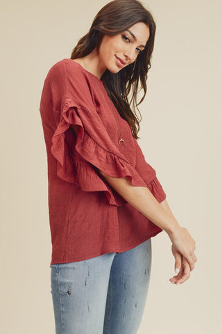 Cinnamon Ruffles Top