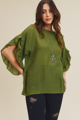 Olive Ruffles Top