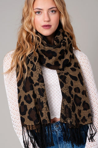 Ombre Leopard Scarf-Chocolate